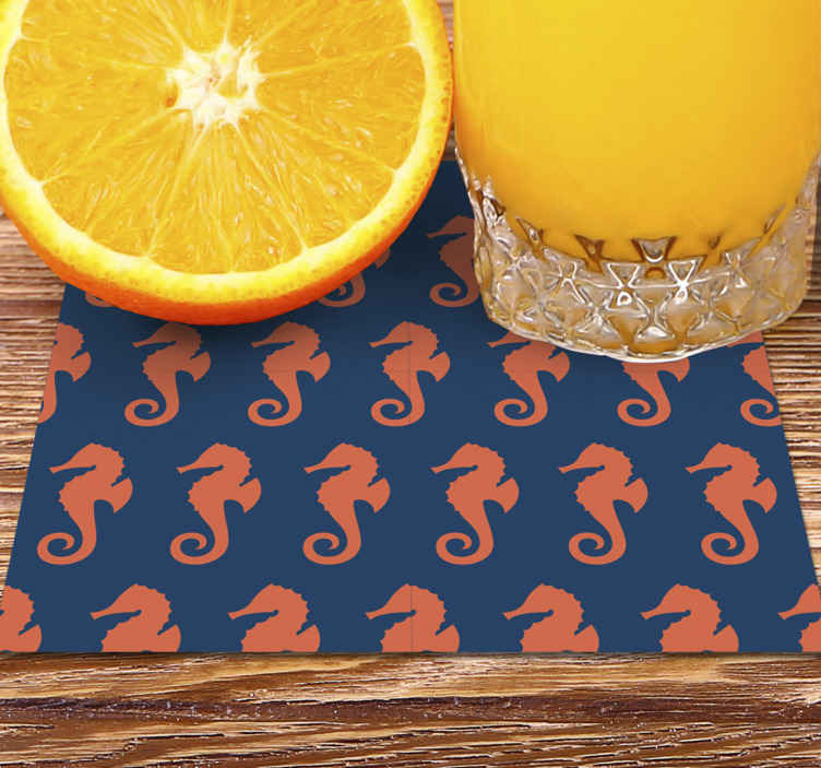 TenStickers. Orange Sea Horse Pattern sea coaster. What could be a better gift to give to a friend or a family member than this unique horse coaster design? Order this design today! Buy now!