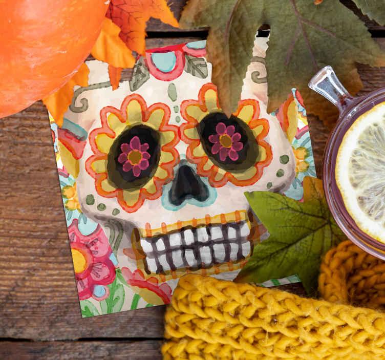 TenStickers. Sottobicchiere messicano da bere con teschio. Un sottobicchiere multicolore di halloween con un design teschio messicano. è realizzato in materiale di alta qualità e di facile manutenzione.