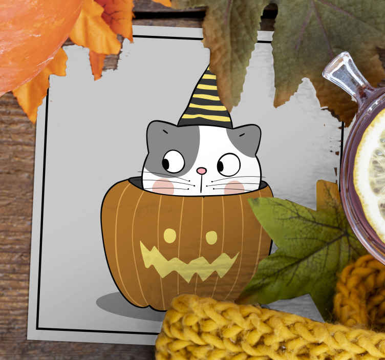 TenStickers. Cute cat Halloween drink coaster. Rectangular Halloween drink coaster with the design of a pumpkin and cat. Made of high quality material and easy to maintain.
