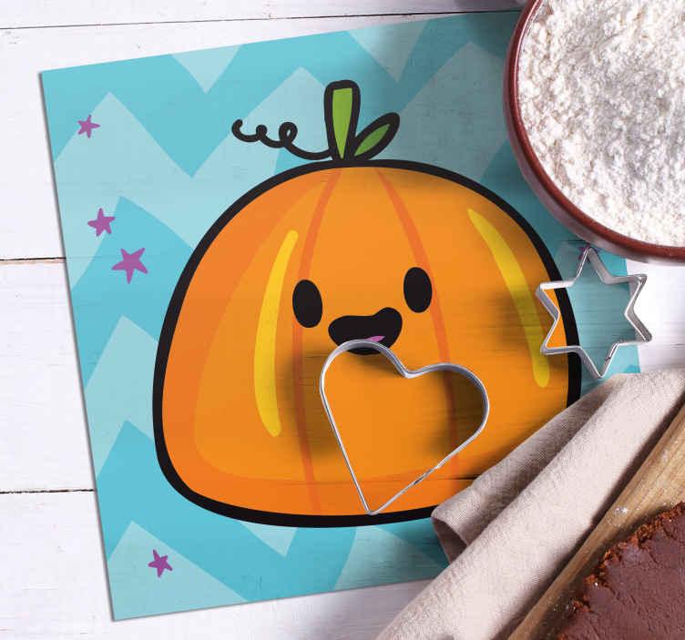 TenStickers. Græskar halloween drikke coaster. Smuk græskar halloween drikcoaster lavet af materiale af høj kvalitet, let at vedligeholde og fås i pakningssæt. Holdbar og antiallergisk.