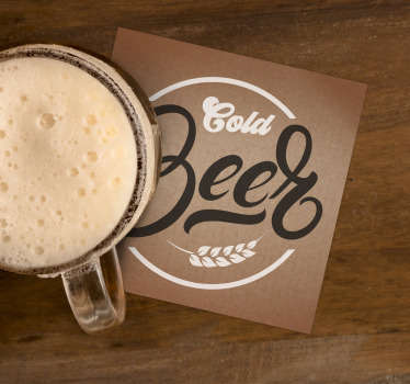 "You will love this cold beer coaster in your home! Classy colours and the scripture ""Cold Beer"" ensure it fits with any decor."