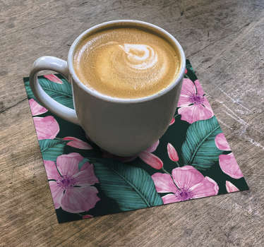 This floral coaster with beautiful pink flowers and green leaves will look stunning in your home. Purchase it now and enjoy it in your home!