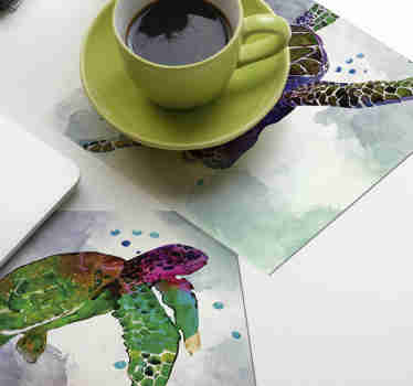 This colourful animal coaster is perfect for people who love turtles. Abstract colourful design to draw everyone's attention!