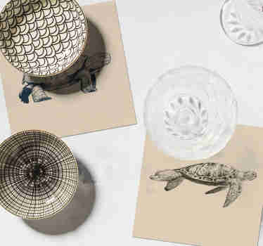 Look at these coolturtle drawing animal coasters! Elegant design with these fascinating animals to decorate your home perfectly!