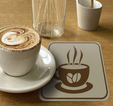 Coffee coaster set which features a stunning retro image of a steaming cup of coffee with coffee beans on the front. +10,000 satisfied customers.