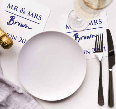 Wedding coaster which features Mr and Mrs and your personalised name and date underneath. Sign up for 10% off. High quality.