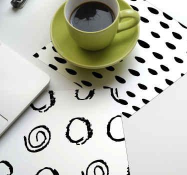 Posavasos original con motivos negros y con fondo blanco bebidas perfecto para el hogar, bar o restaurante ¡Envío a domicilio!