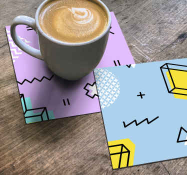 An original  Memphis patterns modern coaster design to serve your tea, coffee and beverages. Easy to maintain and of high quality material.