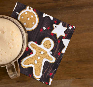 Beautiful Christmas drink coaster featured with snowman in cookie texture.  An amazing design to enjoy drinks for Christmas.