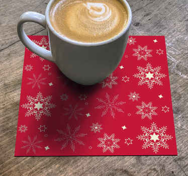 Buy our snow flakes pattern drink coaster with beautiful red Christmas background. The product is original and very easy to maintain.