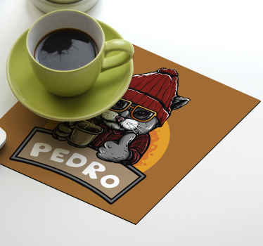 Custom drink coaster with a funny cat design chilling with ta cup of coffee. It is customisable in your own name. The product is made of good quality.