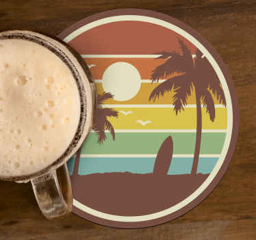 Retro surf landscape drink coaster for lovers of surfing. This product is made with high quality material and it is easy o clean.