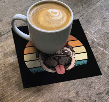 Amazing vintage drink coaster to serve your coffee and tea with class. The product is featured with the photo image of a dog on colorful background.