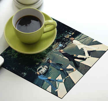 Abbey road geek drink coasters to serve your drinks and beverages in a modern  It is featured with realistic photo image of the abbey road.