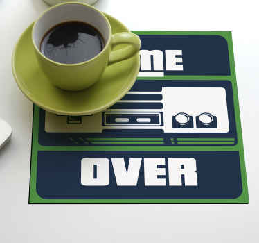 A drink coaster for gamer with gaming design and the text '' Game over''. It is easy to maintain and available in different pack sets.
