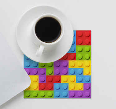 Crazy geek coaster that can be use to serve kid at a dinning table.  It is made with colorful toy brick texture  and it is easy to maintain.