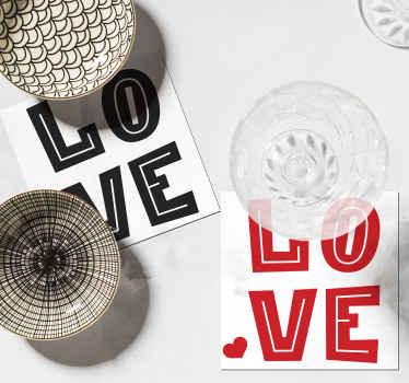 Love text drink coaster to place drinks and beverages on your table with class. It is available in pack sets and easy to use.