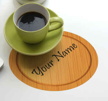 Personalize your name on our original wood texture coasters . This product is nice to serve drinks for your guest and family.