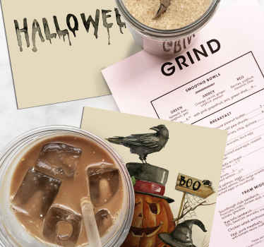 A drink coaster with Halloween text designed on a calm background. It is easy to maintain and made from high quality material.