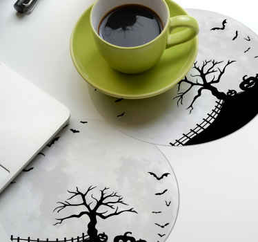 Buy our modern drink coaster with terror moon design of Halloween. It is made from high quality material and easy to maintain.