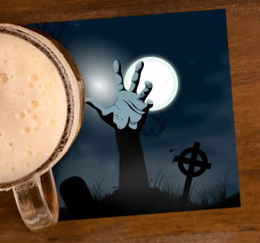 A drink coaster with an Halloween living dead design. It is made from high quality vinyl and easy to maintain and anti allergic.