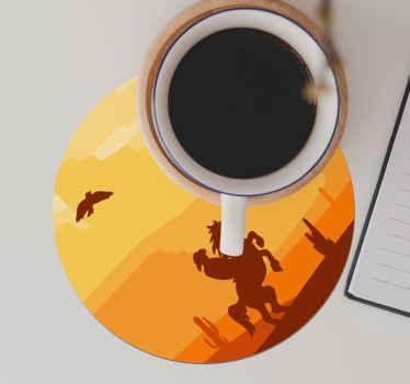 Profitez du paysage présent sur ce dessous de verre rond offrant un coucher de soleil dans le désert. Il est facile à entretenir et à stocker.