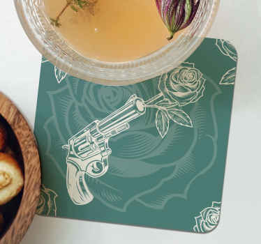 Bring cowboy's vibe with love to your home in our amazing drink coaster designed with a revolver shooting roses. It is easy to maintain and store.