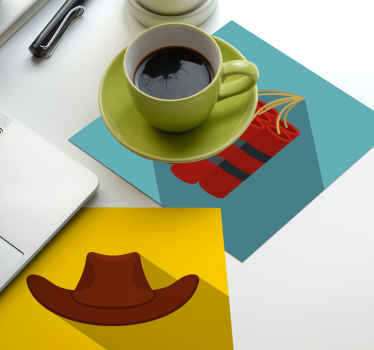 Ajoutez le dessous de verre cow-boy à votre bar et à votre table à manger. Il est fabriqué avec des matériaux de haute qualité et est facile à entretenir.