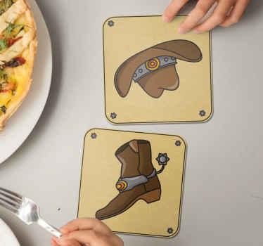 Dessous de verre cow-boy pour vos tables. Un dessous de verre original et présenté avec un chapeau et des bottes de cow-boy. Il est fabriqué avec un matériau de haute qualité.