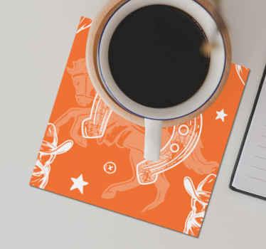 Diseño de posavasos para bebidas hecho sobre un fondo naranja con temática cowboy para los amantes de los caballos ¡Envío a domicilio!