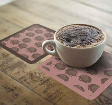Super et idéal sous-verre pour tasses, thé et verres à vin. Vous pouvez commander ces stickers muraux de dessous de verre de porc-épic chez nous en ligne.