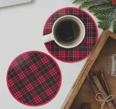 Christmas tartan pattern drink coaster. The design has stripes of red and black depicting a tartan pattern. Made from high quality material.