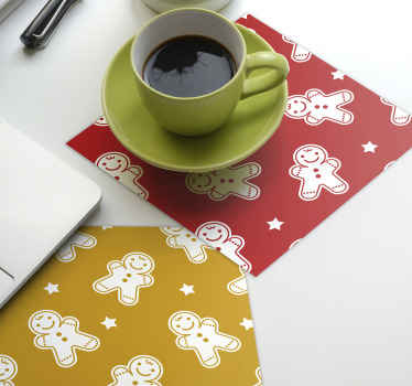 Christmas cookies drink coasterfor home and commercial  restaurant space.  The design is a squared pattern design with ornamental prints of snowman.
