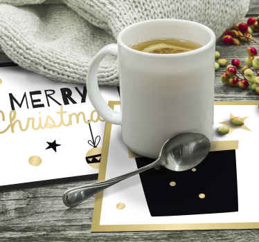 优雅的礼品盒模式喝杯垫。一个漂亮的圣诞节杯垫,适合家庭,酒吧和餐馆。高品质且易于维护。