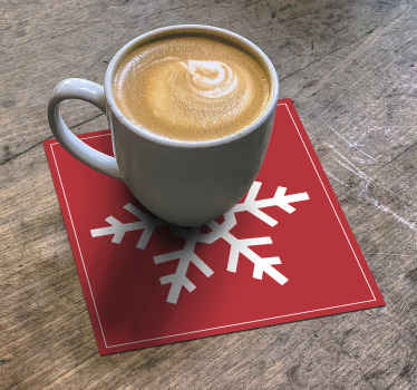 Red Snowflakes drink coaster for home and commercial food space. The design is a squared pattern design with ornamental snow flakes design.