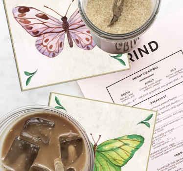 Maravillosos y coloridos posavasos original de mariposas para decorar tu mesa de comedor o cocina. Decora a tu gusto ¡Envío a domicilio!