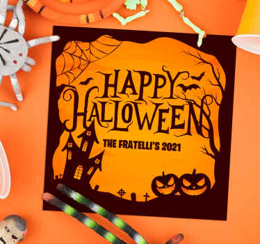 This spooky Halloween coaster design features the text Happy Halloween followed by your personalised name and date. Custom made.