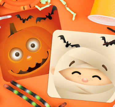 These child friendly Halloween coaster designs feature a cartoon pumpkin and a mummy surrounded by bats. +10,000 satisfied customers.