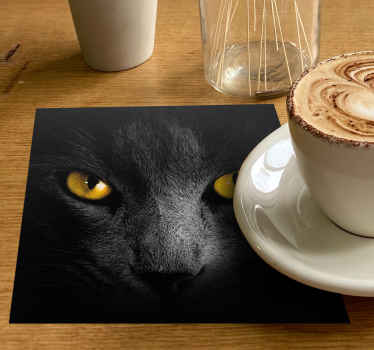 This cat coaster design features a realistic black cat up close with glaring orange eyes. High quality vinyl materials used.
