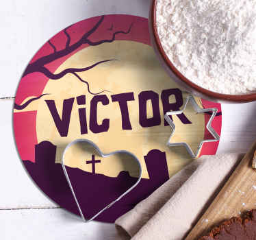 This amazing personalised Halloween coaster design features a dark graveyard and tree which are lit up by the surrounding moon.