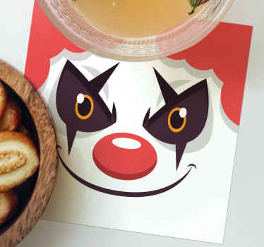 Funny drink coaster for kids. The design contains a clown drawing depicted to be unfriendly. It is also suitable for bars and restaurant space.