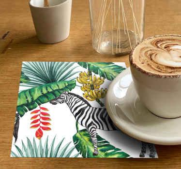 Un elegante posavasos de cebra estilo paisley realista para alegrar tus días. Original diseño tropical para decorar tu mesa ¡Envío exprés!