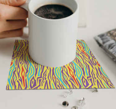Zebra coaster set which features a classic zebra print pattern coloured in shades of yellow, purple, red and green. Extremely long-lasting material.