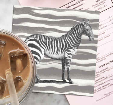 Vintage zebra coaster set which features an image of a zebra on a grey and white zebra print background. Discounts available.