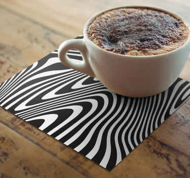 Zebra print coaster set which features a stunning zebra print pattern which looks like it is 3D. +10,000 satisfied customers.