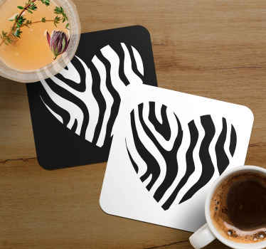 Zebra print coaster set which  features a heart with a zebra print pattern in the middle. Extremely long-lasting material.