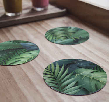 Bring some green into your room with this amazing 'different green leaves' modern coaster set! Don't wait any longer and order today!