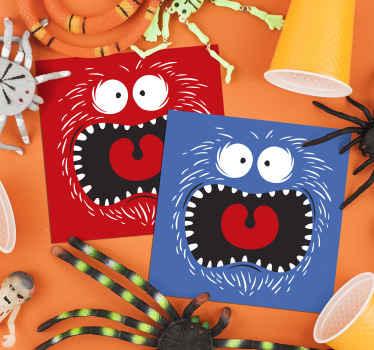 Posavasos para bebidas de halloween moderno y colorido con diseño icónico de cómic en diferentes colores. Hecho de alta calidad.