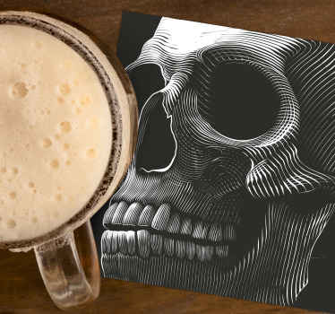 Original Halloween drink coaster. The design featured a scary big skeletal skull making the entire background surface of the product.