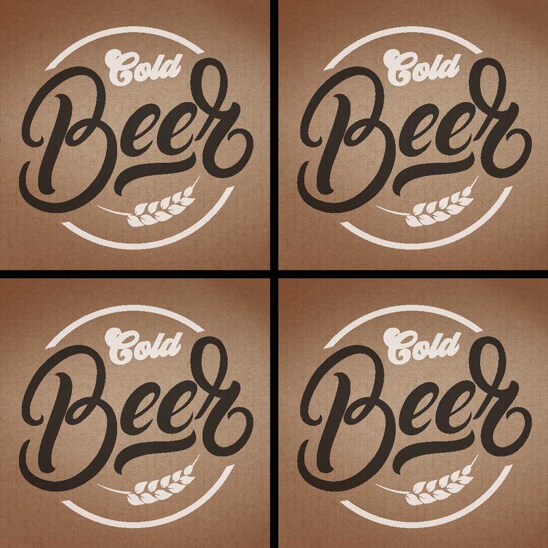 """TenStickers. 米色冰啤酒杯垫. 您会在家里喜欢这款冰啤酒杯垫!优雅的色彩和经典的""""冷啤酒""""确保它适合任何装饰。"""